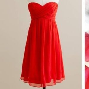 Red/orange J. Crew strapless dress